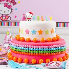 Talk about eye candy! This fab Hello Kitty cake is a rainbow of yummy gumballs, chocolate drops & fondant stars. Click for how-to!