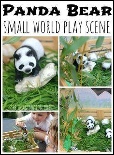 Panda Bear small world play scene with real bamboo and natural elements!