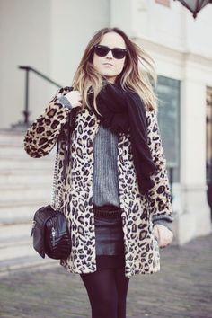 Leopard coat, black