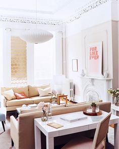 Why It Works: Double Sofas // Parsons desk, beige sofa, Nelson pendant light, wallpaper, fireplace, For Like Ever