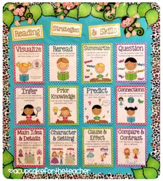 A Cupcake for the Teacher: Reading Center Starter Kit! Strategies and skills posters. Some posters have more than one worksheet option. reading strategies posters, reading strategy posters, reading skills posters, teacher reading, writing strategies posters