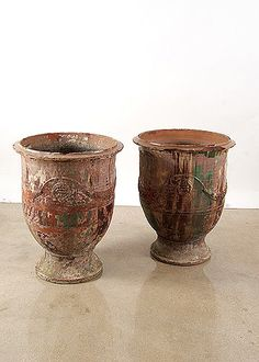 Pair of Authentic 18th Century French Antique Terracotta Anduze Jars