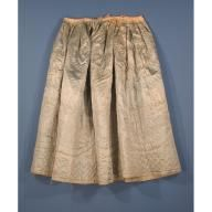 Quilted Petticoat  about 1750-1780  Clothing Maker:Made by Unknown   Hand-stitched silk and wool, with wool batting, linen tapes, and cotton tapes  Primary Dimensions (length x circumference at hem): 37 x 106 1/2in. (94 x 270.5cm)  Credit Line: Museum purchase