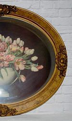 1913 Print/Paint in Oval Ornate Frame