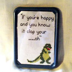 Sad Dinosaur Funny Cross Stitch Fridge by SnarkyLittleStitcher, $8.00