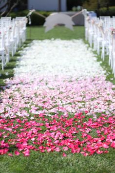 Imagine walking down this ombre rose petal aisle on your wedding day!