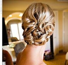 Curled bun with flowers bun hairstyles, bridesmaid hair, wedding photos, girl hairstyles, pin curls, bridal hair, hair style, wedding hairstyles, updo