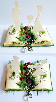 handmade pop-up book style wedding cake topper; cute idea, I wouldn't have all the flowers in the middle, though.