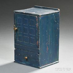Miniature Blue-painted Cupboard-over-drawer