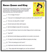 The Recess Queen Activity (objectives: respect, being a friend, assertive vs. bossy)