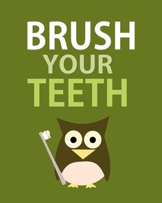 Brush your teeth - owl - green- 8x10 - digital print