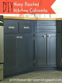 Primitive & Proper: My Painted Kitchen Cabinets and Ikea Butcher Block Countertops; 1979 kitchen cabinets painted with general finishes milk paint.... how to