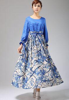 Blue ethnic print maxi dress long linen dress 694 by xiaolizi.
