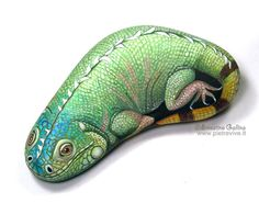 Hand painted rocks.Wildlife animals painted on stone.