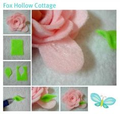 Pink Petal Felt Flower Craft Tutorial - Fox Hollow Cottage