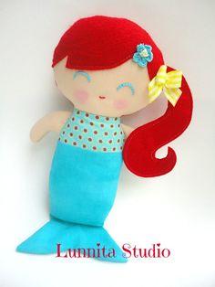 Handmade cloth doll... Earth-Friendly Doll...mermaid doll on Etsy, R$54,87