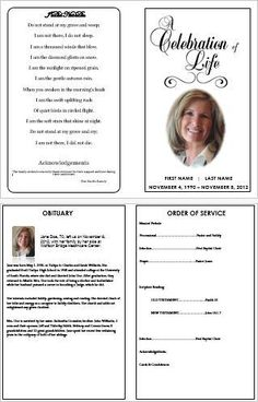 Creating a Memorial Program Template