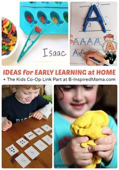 Early Learning at Home + Kids Co-Op Link Party - #kids #homeschool #preschool #kbn #binspiredmama