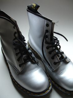 Vintage NEW Doc Martens Dr. Martens Boots Silver Smooth Leather Size 8
