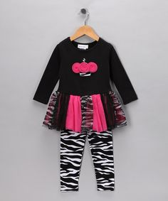 Take a look at this Fuchsia & Black Zebra Cupcake Dress & Leggings - Infant & Toddler by Gerson & Gerson and Allison Ann on #zulily today!