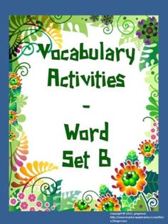Vocabulary Word of the Day set B (activities)The objective of this pack is for students to learn how to use these vocabulary words in context. The focus is on usage not spelling. Thus different forms of the word are used throughout the packet.     The activities are given at the end of each 10 word set.      ACTIVITES:   *Write like an Author activity   *Vocabulary People   *Vocabulary Bingo   *Vocabulary Shapes   *Synonym Search   *Antonym Crosswords