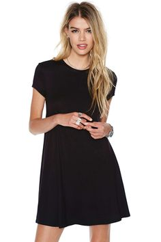 Black Short Sleeve Shirt Cut Swing Dress