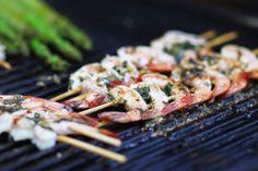 Grilled basil & garlic shrimp skewers