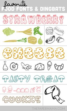 My Favorite Food Fonts and Dingbats || ThePaperMama  ~~ {9 Free fonts w/ easy download links} ~~