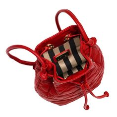 Red Quilted Lips Small Leather Dolly