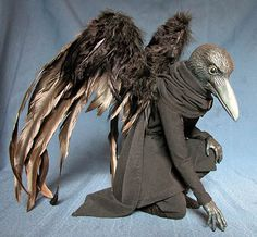 Raven Men - the Assembly of an Art Doll - amazing step by step on how this guy was done.  What a wealth of info! raven costume, art doll, raven man, raven doll, sculptur