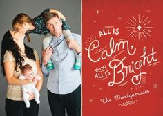 A family photo plus cheerful script makes for the perfect holiday card.