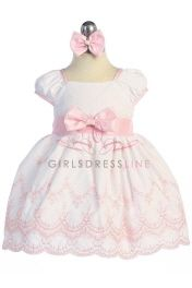Embroidered Cotton Baby Flower Girl Dress with Sleeves