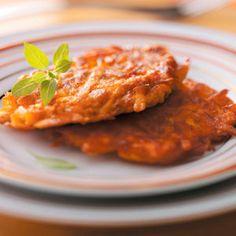 Curried Sweet Potato Latkes Recipe from Taste of Home -- shared by Rachel Garcia of Arlington, Virginia
