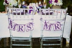 Purple Bride and Groom Signs
