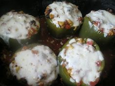 Freezer to Crockpot Stuffed Peppers.  I made mine with Soy TVP to make it Vegetarian but you can also add ground beef or turkey! Make this summer when you are overflowing with green peppers in your garden and freeze for later!