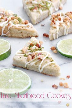 Lime Shortbread Cookies  - a delicate cookie with a drizzle of white chocolate, lime zest and toasted almonds | Cooking on the Front Burner ...