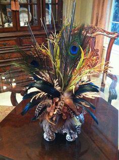 Brown Hydrangea & Feather Silk Floral Arrangement - Faux Floral Arrangement - Peacock Feather Arrangement