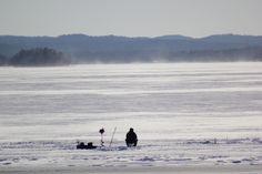 Ice fishing on Greenwood Lake, NY.