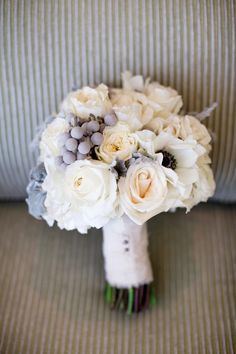 Pretty Winter Bouquet -- See the winter wedding on SMP: http://www.StyleMePretty.com/2014/05/27/heartfelt-winter-wedding-in-new-jersey/  Photography: JudithRae.com - Floral + Event Design: CassandreSnyder.com