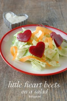 heart beets salad NoBiggie.net - the cutest little salad for our valentines dinner