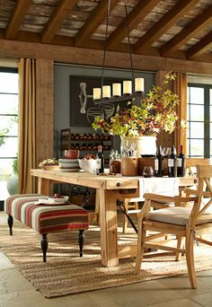dining area rustic lodge style from pottery barn