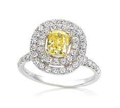 My latest obsession, colored Diamonds!!!Yellow Diamond Ring with Double Halo