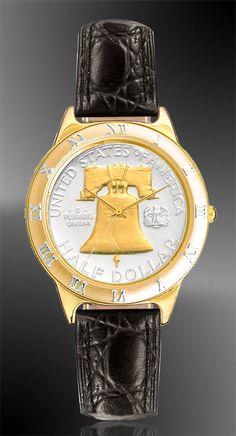Liberty Bell Mens Coin Watch $205