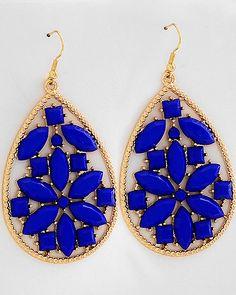 Blue Lg Oval Flower Jeweled Earrings
