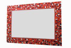 Red Mosaic Mirror Large Wall Mirror Custom by GreenStreetMosaics, $150.00