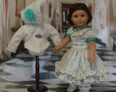 1850's dress, jacket and bonnet for American Girl doll - Pontchartrain