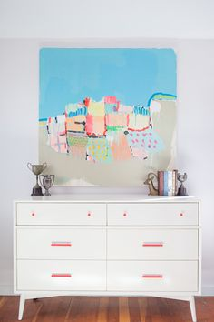 sonja rasula diy project west elm dresser painted neon handles mid century bedroom furniture modern refresh design