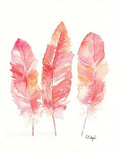 Pink and Coral Watercolor Bird Feathers Painting, Original 8x10