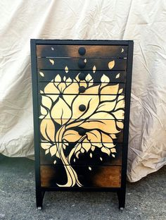 I don't know where this could go, but I love it.  Amazing.  I could find a similar piece at a flea market and refinish it in a similar fashion myself....