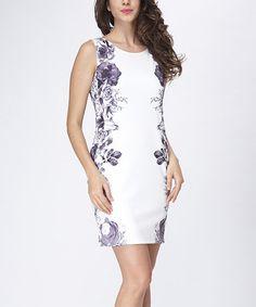 White & Purple Floral Sleeveless Dress - Women